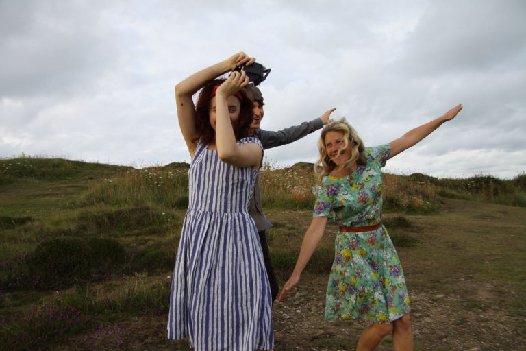 Models wearing striped and floral Bibico dresses
