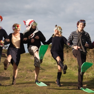 Models in flippers for the Ethical Rebel photoshoot