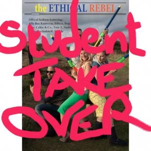 Student Take Over graffitti over Ethical Rebel magazine